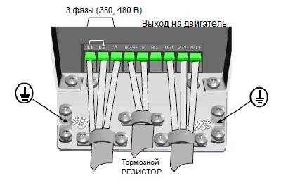 Подключение силовых кабелей преобразователя Vacon 20, M4