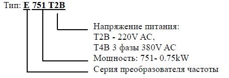 Маркировка чаcтотного преобразователя IDS-Drive E и IDS-Drive E-VECTOR