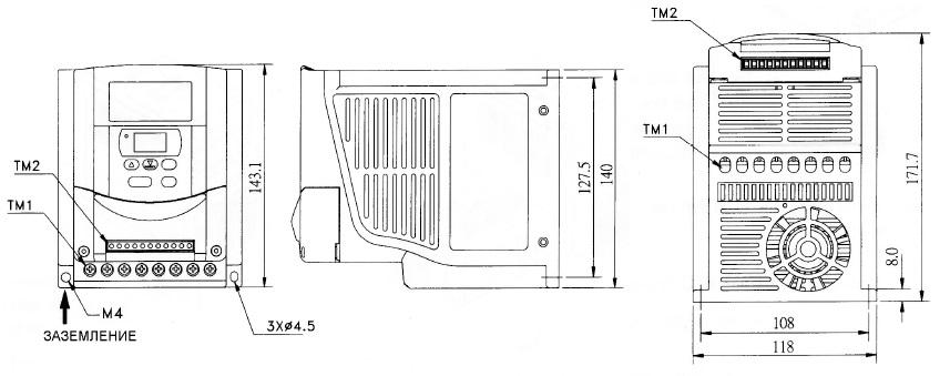 Размеры частотников Веспер E2-MINI