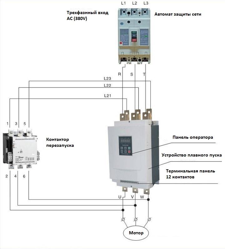 Подключение устройства плавного пуска