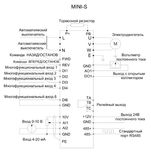 Схемаподключения частотника EasyDrive ED3100 S-Mini