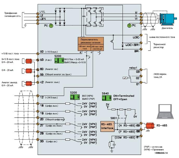 Схема подключения частотника Danfoss fc-51