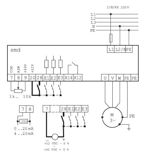 Схема подключения Lenze SMD 220