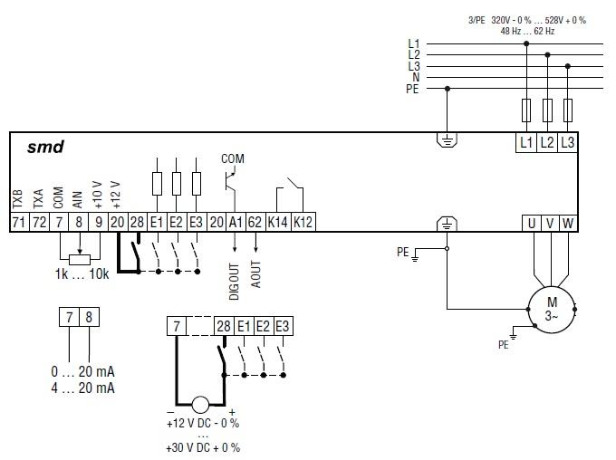 Схема подключения Lenze SMD 380